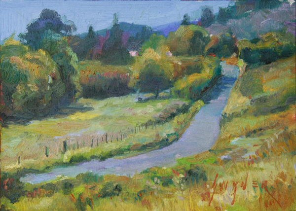 Vineyard Road - Julie Snyder. A small oil painting.