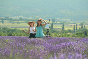 Shirley and Celeste with easel in Lavender Fields