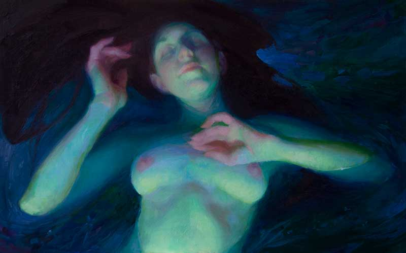 Water Lily by Adrienne Stein. Figure painting of a woman in water.