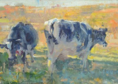 Pasture by painter Quang Ho. Two cows grazing grass