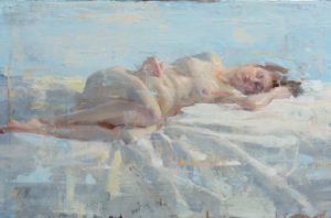 Sideways is a contemporary figure painting by Adrienne Stein. A soft colored painting of a naked female figure on folded material.