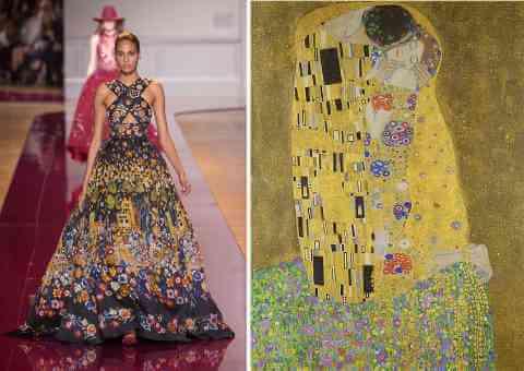 Runway dress inspired by Gustav Klimt